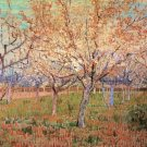 Orchard with Blossoming Apricot Trees landscape canvas art print by Vincent van Gogh