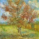 Pink Peach Tree in Blossom Reminiscence of Mauve landscape canvas art print by Vincent van Gogh