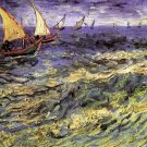 Seascape at Saintes Maries II boats canvas art print by Vincent van Gogh