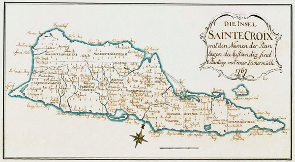 St Croix Danish Virgin Islands 1767 plantation color map by Kussner