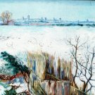 Snowy Landscape with Arles in the Background canvas art print by Vincent van Gogh
