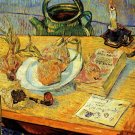 Still Life Drawing Board Pipe Onions canvas art print Vincent van Gogh