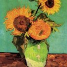 Three Sunflowers in Vase still life canvas art print Vincent van Gogh
