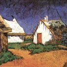 Three White Cottages in Saintes Maries landscape canvas art print by Vincent van Gogh