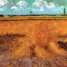 Wheat Field with Sheaves landscape canvas art print by Vincent van Gogh
