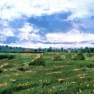 Wheat Fields with Stacks landscape canvas art print by van Gogh