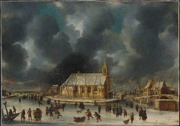 Skating at Sloten near Amsterdam canvas art print Abrahamsz Beerstraten
