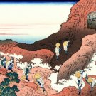 Climbing on Mt Fuji Japanese canvas art print Katsushika Hokusai