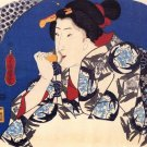 A Beauty with a Face Brush Japanese canvas art print Utagawa Kuniyoshi