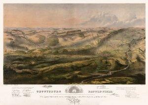 Gettysburg battlefield map July 1, 2, 3, 1863 Civil War by Bachelder