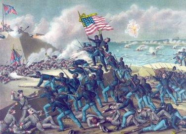 Storming Fort Wagner battle Civil War canvas art print Kurz & Allison