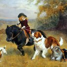 Rival Distractions pack of dogs child pony canvas art print by Barber