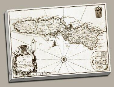 St Croix Danish W. Indies Plantation Map 1671 Gallery Wrap canvas print Lapointe
