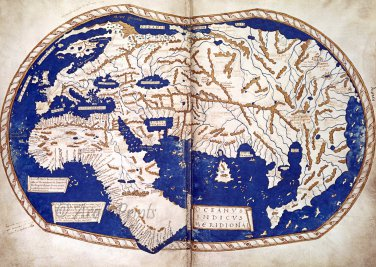 World Map 1489 Manuscript Art Print by Henricus Martellus