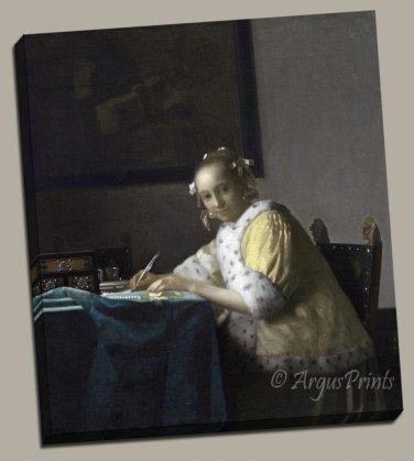 Lady Writing a Letter Gallery Wrap canvas art print Vermeer