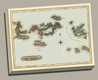 British US Virgin Islands Danish West Indies 1823 map canvas Gallery Wrap print Lucas