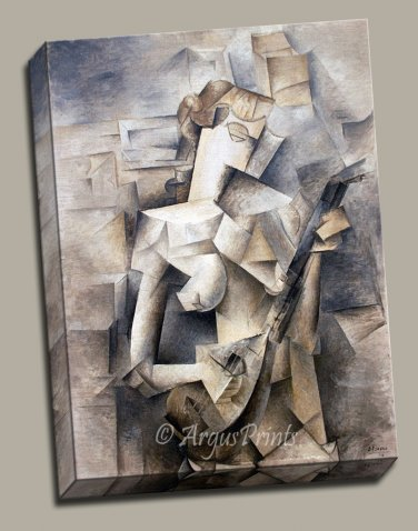 Cubism Girl with Mandolin Fanny Tellier Gallery Wrap canvas art print Picasso