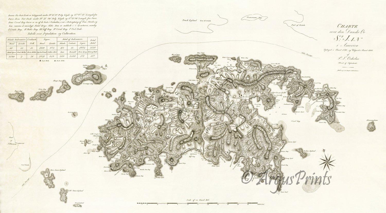 St John Danish Us Virgin Islands 1800 Plantation Map By Oxholm - Map-of-st-john-us-virgin-islands