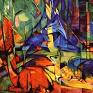 Deer in the Woods II 1914 wild animal woods forests landscape canvas art print by Franz Marc