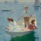 Calm Morning 1904 woman children fishing canvas art print Benson