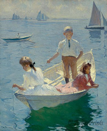 Calm Morning 1904 woman children fishing canvas art print Benson