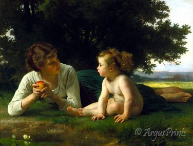 Temptation 1880 woman fine art print by William Adolphe Bouguereau