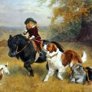 Rival Distractions pack of dogs child riding pony fine art print by Barber