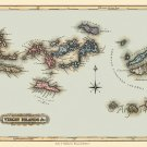 British and US Virgin Islands Danish West Indies 1823 Caribbean map by Lucas