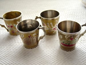Four Small Etched  Brass Cups at Periwinkles #300372