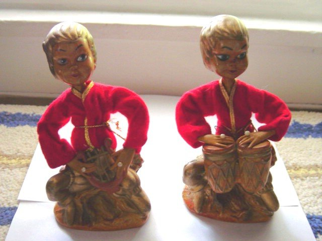 Set of Vintage Asian Hong Kong Figurines Playing Instruments #300159