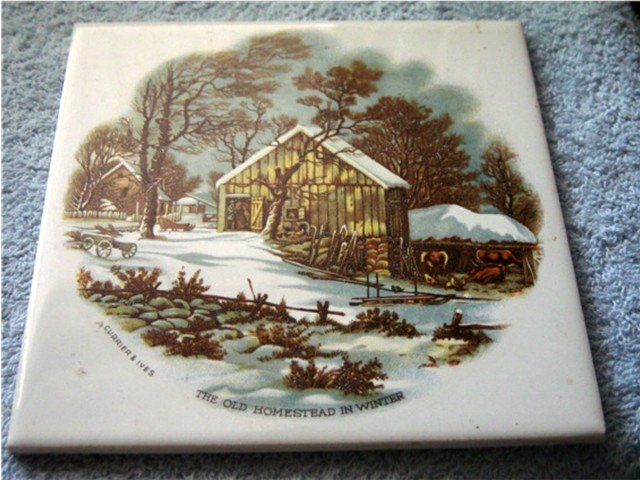 Currier & Ives The Old Homestead in Winter Tile Pilkington England #300378