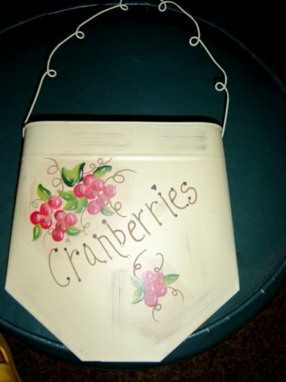 Granny's Cranberries Metal Wall Pocket Hand Painted #300424