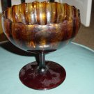 Clear Amber Pedestal Bowl with Fluted Edges #300354