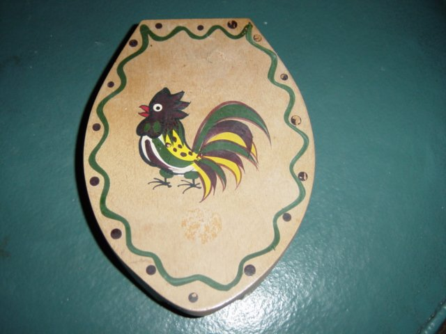 Vintage Woodpecker Wood Ware Hand Painted Hamburger Press #300171
