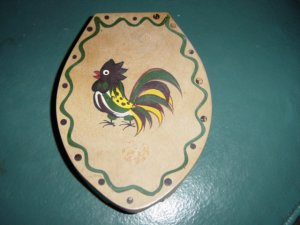 Vintage Woodpecker Wood Ware Hand Painted Hamburger Press #300171