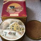Currier and Ives Decorative Tin with Matching Coasters #300116