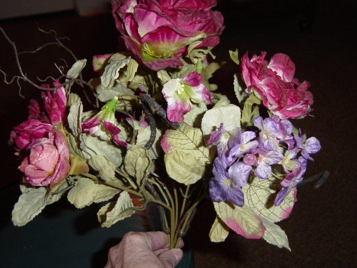 Bunch of Roses Silk Flowers Hydrangea Berries  #300380