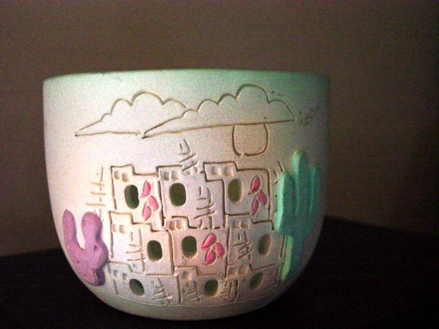 1980s Earthworks Pottery Bowl of Indian Pueblo #300107