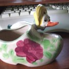 Vintage Porcelain Wooden Shoe Planter with Mother Goose #300192