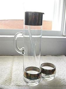 Glass and Silver Drink Mixer with Two Glasses #300379