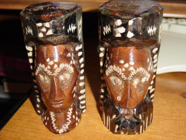 Two Wooden Made in Jamacia Hand Carved Man and Woman #300117