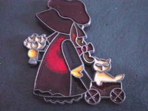 Prairie Girl with Kitten Stained Glass Kitchen Magnet #300389