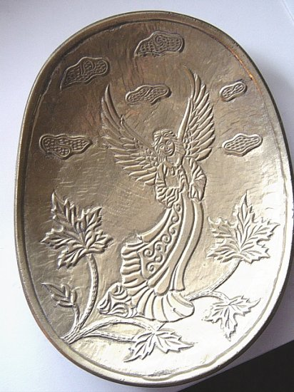 Small Brass Angel Bowl Wall Decor Made in India #300576