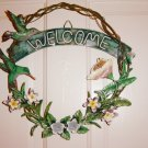 Hummingbirds and Flowers Design Metal Welcome Wreath Door Wall Hanging #300589