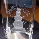 3-D Laser Etched Glass Crystal Snowman Cube at Periwinkles #300665