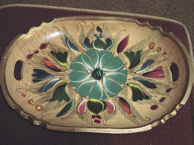 Hand Painted Wood Tray Highly Decorated  #300781