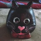 Black Kitty Cat Moveable Marble Eyes Votive Tea Candleholder #300878
