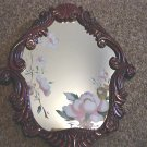 Small Oval Mirror with Flowers Painted on Glass #300904