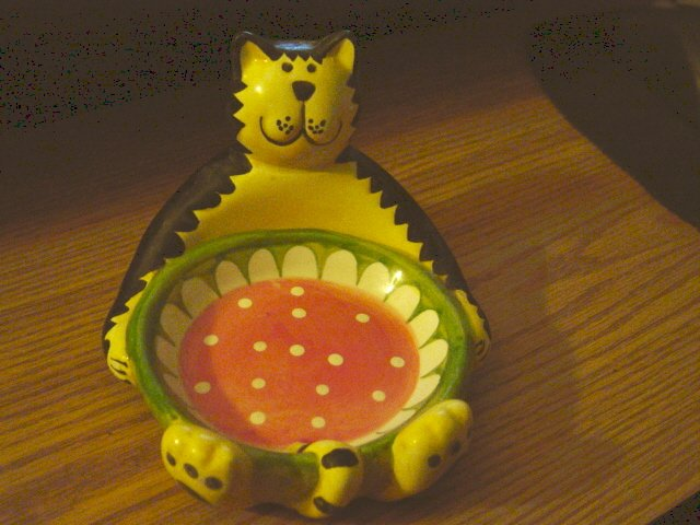Yellow and Black Cat on Back Soap Scrubber Holder Dish at Periwinkles #300915a