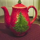 Red Porcelain Christmas Teapot with Tree and Falling Snow #300916
